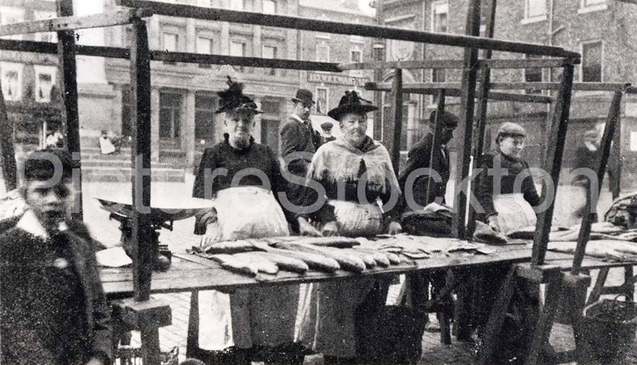 A postcard showing stalls at stockton fish market for Cherry street fish market