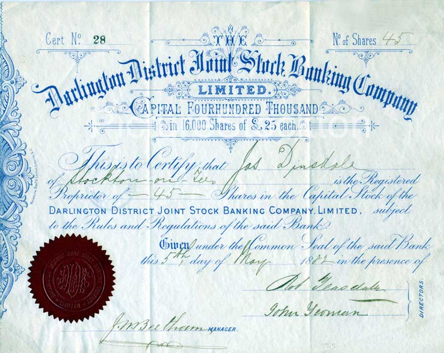 Banking Share Certificate – 1882 | Picture Stockton Archive