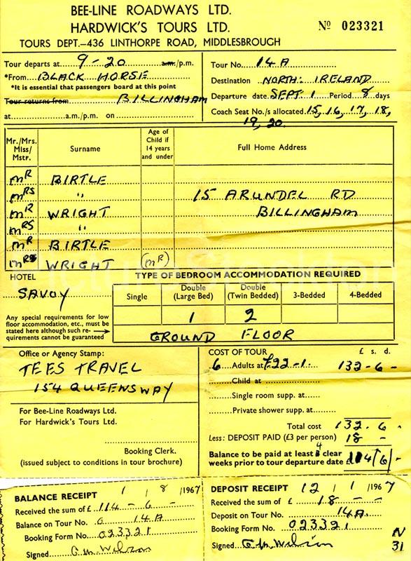 BeeLine Holiday Invoice To Bangor C Picture Stockton Archive - Invoice bee